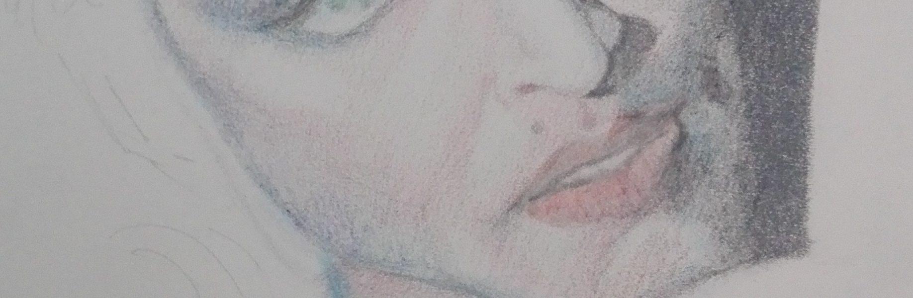 Sandro Ferrucci - grafite su carta - anno 1986 - ritratto di Madonna dettaglio da blocco schizzi