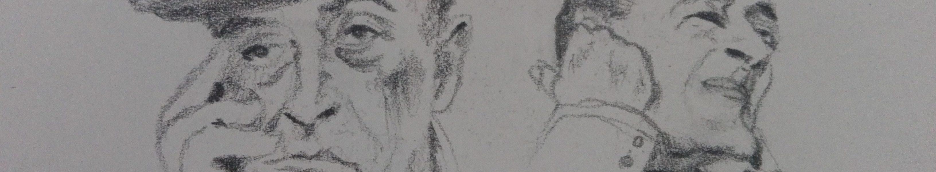 Sandro Ferrucci - Grafite su carta - anno 1989 - ritratto del Principe Antonio De Curtis (Totò) dettaglio da blocco schizzi